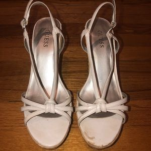 GUESS White Strappy Straw Wedges Size 6.5